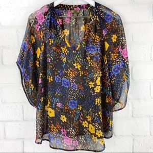 Fei by Anthro Floral Eternal Blossoms Silk Blouse